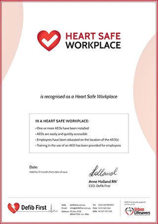Heart Safe Workplace Certificate
